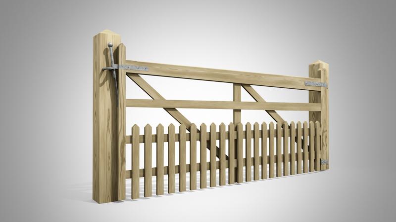Handmade Field Gate Pattern T Pales at Bottom Angle