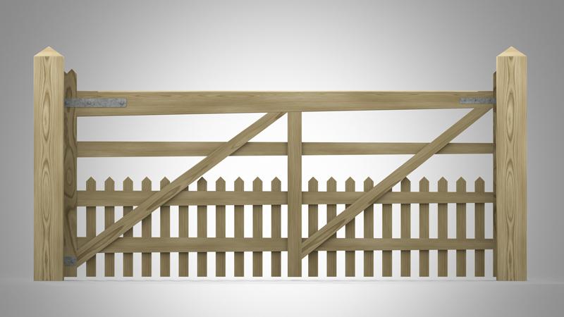 Handmade Field Gate Pattern T Pales at Bottom Back
