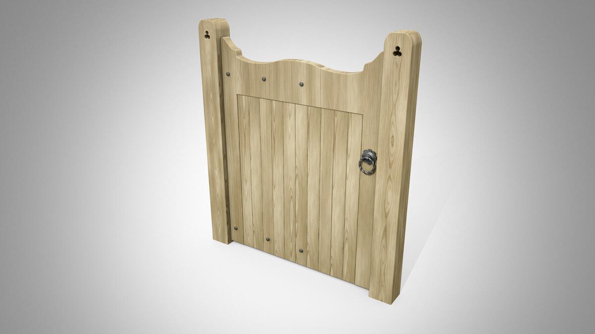 Wrought Ornamental Hand Gate Pattern Q oak angled